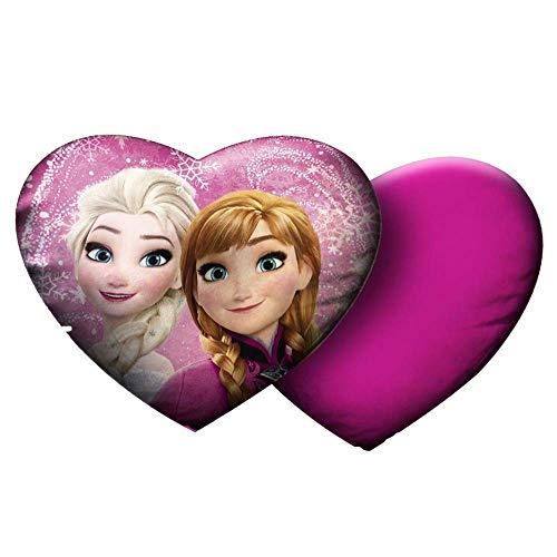 Star Disney Frozen - Cuscino in velluto stampato a forma di cuore, dimensioni 35 x 30 cm