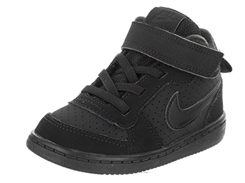 Nike Unisex-Kinder Court Borough Mid (TD) Basketballschuhe, Schwarz (Black/Black 001), 23.5 EU