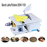 Upgraded Jewelry Polishing Grinding Machine, Mini Table Rock Saw Lapidary Polisher Bench Buffer Machine, DIY Lathe Machine 0-10000r/min with Flexible Shaft for Home Adjustable Woodworking Carving