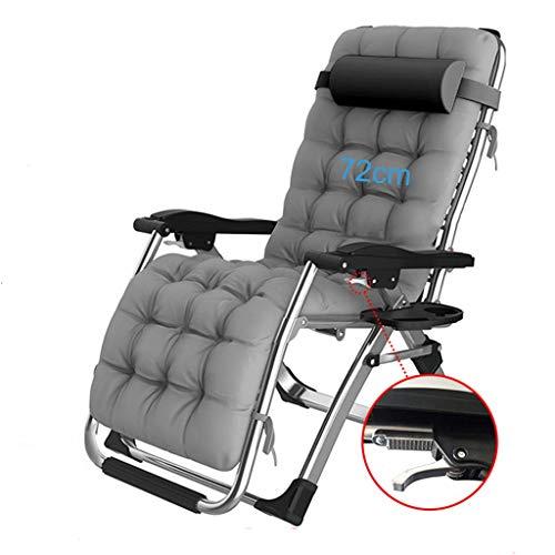 WZB Fauteuil Relax Extra Large avec transats et chaises Longues avec Porte-gobelets   Chaises de Jardin Pliantes pour l'extérieur avec Coussin rembourré et Repose-Pieds   Fauteuils de Salon, Gris