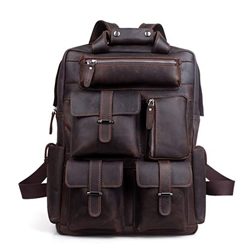 Carriemeow Vintage Leather Men's Backpack Large Capacity 19' Laptop Portable Leather...