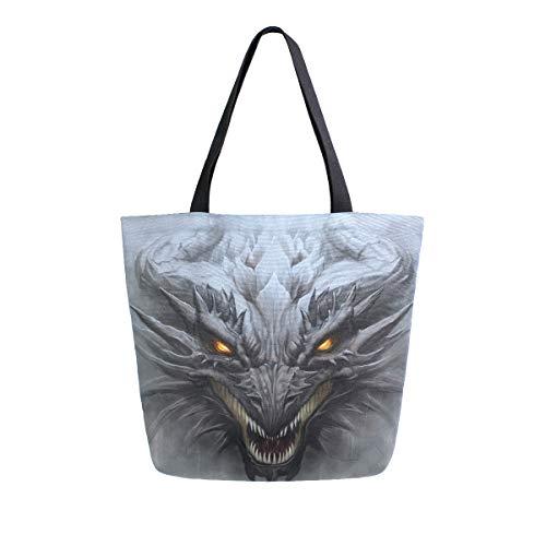 HMZXZ RXYY Drachen Gray Stone Kunst Segeltuch Tasche Schwer Pflicht Groß Frauen Beiläufig Schulter Tasche Handtasche Wiederverwendbar Einkaufen Tasche Bag für Draußen Reise