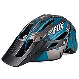 Cool Mountain Bicycle Helmet Casco de Camuflaje MTB Road Bike Riding Helmet Sombrero de ala Grande con luz Trasera Bat Bat Fox Casco de Seguridad, Azul Negro Ti Gris