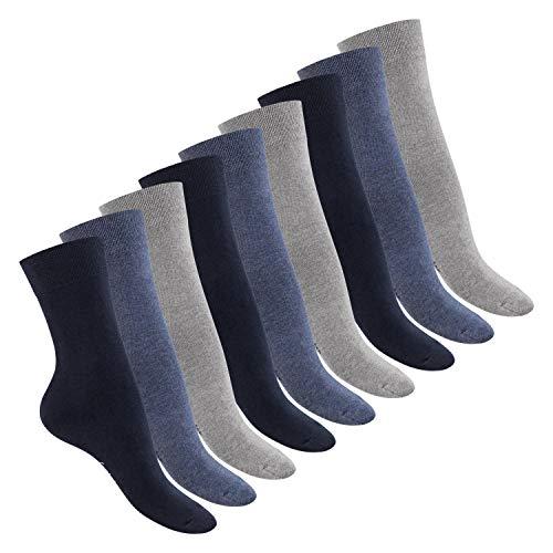 Footstar Damen Baumwollsocken (9 Paar), handgekettelte flache Spitze - Everyday! - Jeans 35-38