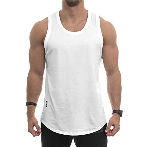 Sixlab Round Oversize Tank Top Herren Muscle Shirt Achselshirt Gym Fitness (XL, White)