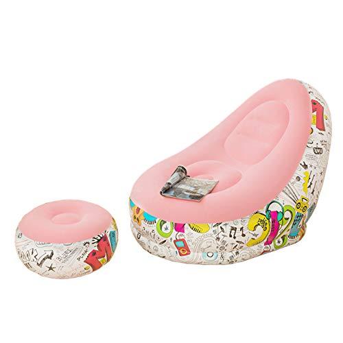 DERCLIVE Aufblasbarer Liegestuhl mit Fußstütze Beflockt Faul Sofa für Home-Office-Camping 4 Farben Zur Auswahl