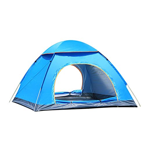 qwert camping tent 3-4 people automatically pop up outdoor family tent, multiple modes, easy to open, waterproof, ultra-light, suitable for hiking, camping, fishing and travel sky blue 200x200x135cm