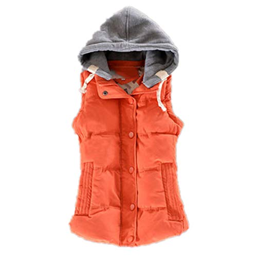 Women Vest Winter Jacket Pocket Hooded Coat Warm Cotton Padded Vest Slim Sleeveless Waistcoat Orange L