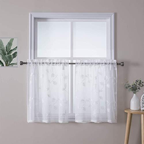 Tenda a pannello LinTimes, tende cieche corte con motivo a mezza finestra per tenda animale da bagno, set di 2, 66 * 76 cm (26 '* 30'), bianco