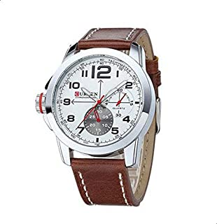 Military Business Watch form men with leather Strap