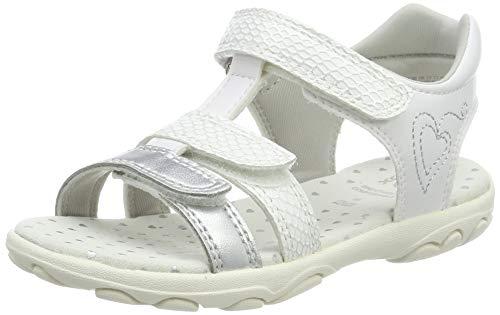 Geox Sandal Cuore J9290B Unisex - Kinder Sandaletten,Jungen,Mädchen Sandalen,Sommerschuh,Sommersandale,Klettverschluss,T-Spange,White/Silver,35