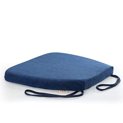 Cojín antideslizante para silla de comedor de cocina con lazos, espuma de memoria para exteriores, jardín, cocina, oficina, sillones de asiento, color azul marino, 40 x 42 x 4 cm, 2 unidades