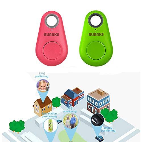 Alianke Green Pink Smart GPS Tracker, Key Finder, Locator, Wireless Anti-Lost Alarm Sensor Device, Used for Phone, Keychain, Wallet, Luggage, Tracker, Selfie Shutte