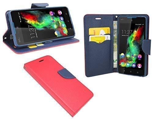 ENERGMiX Elegante Buch-Tasche kompatibel mit Wiko Rainbow LITE in Rot-Blau Leder Optik Wallet Book-Style