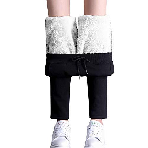 Pantalones térmicos de correr para mujer con cordón, pantalones de senderismo con forro, leggins deportivos con forro polar interior, pantalones de chándal con bolsillo Negro XL