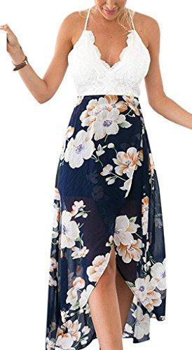 Damen Sommerkleider Lang Elegant A Linie Mit Spitze Geöffnete Gabel Rückenfrei Schulterfrei V-Ausschnitt Mit Blumenprint Cocktailkleid Strandkleid Partykleid Weiß+Blau