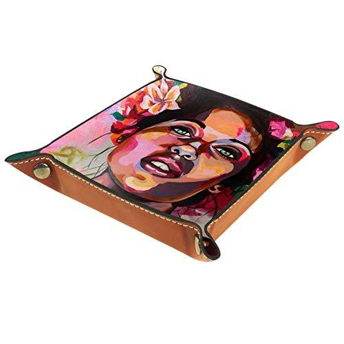 RogueDIV - Bandeja de piel sintética, bandeja de recogida, bandeja para llaves, bandeja de almacenamiento de escritorio para llaves, monedas, teléfono móvil, joyas, cartera, (mujer negra con una corona, 20,5 x 20,5 cm)