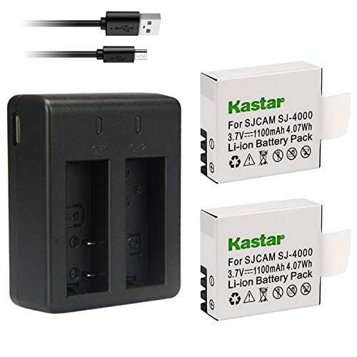 Kastar Battery (X2) + Dual USB Charger for SJ4000 SJ5000 SJ6000 SJ7000 SJ8000 and SJCAM GeekPro ABLEGRID Waterproof Sports HD Action Camera Pruveeo DV200