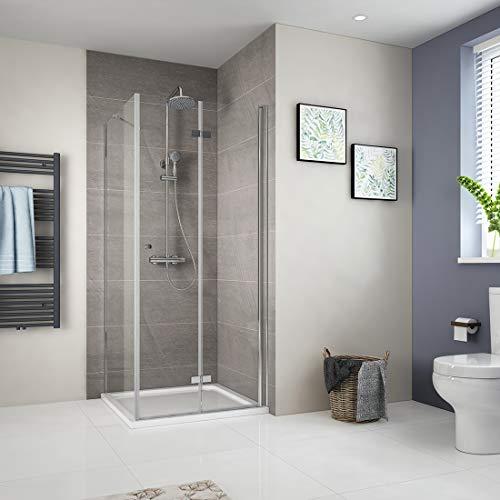 90x90cm Klappbar Duschkabine Duschabtrennung 6mm ESG Sicherheitsglas Falttür Duschtür Duschwand mit Seitenwand