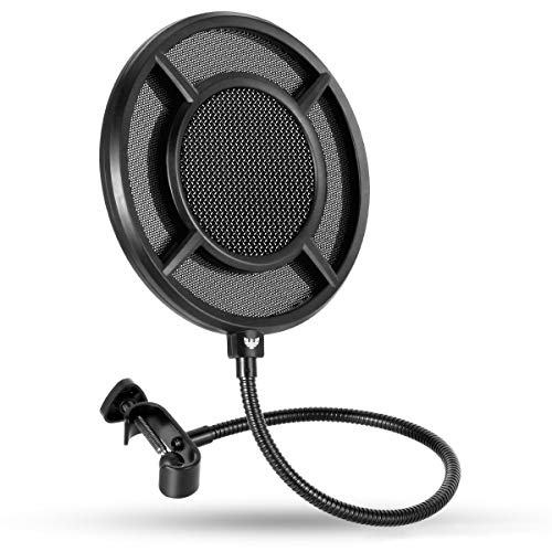 Mic Pop Filter, Professional Metallic Mic Pop Filter Mesh for Blue Yeti and Any Other Mic, WINDBOX Dual Layered Microphone Pop Filter, Mic Filter with A Flexible 360° Gooseneck Clip Stabilizing Arm