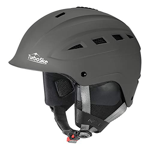 TurboSke Ski Helmet, Snowboard Helmet, Snow Sports Helmet for Men Women and Youth (Gray, L)