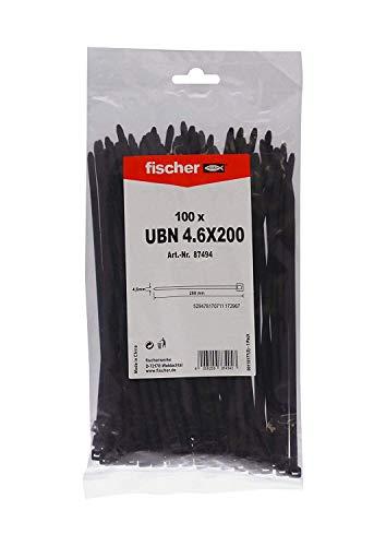 fischer Kabelbinder UBN 4,6 x 200 - Hochwertige Kabelverbinder zur einfachen Bündelung von Kabeln und Rohren, schwarz - 100 Stück - Art.-Nr. 87494