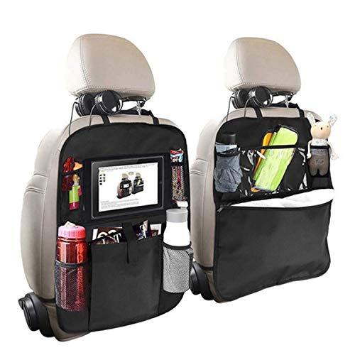 Organizador de asiento trasero para niños, 2 tipos (A+B), protector de asiento trasero con múltiples bolsillos, soporte para tableta, botellas, caja de pañuelos, juguetes, color negro, 2 unidades