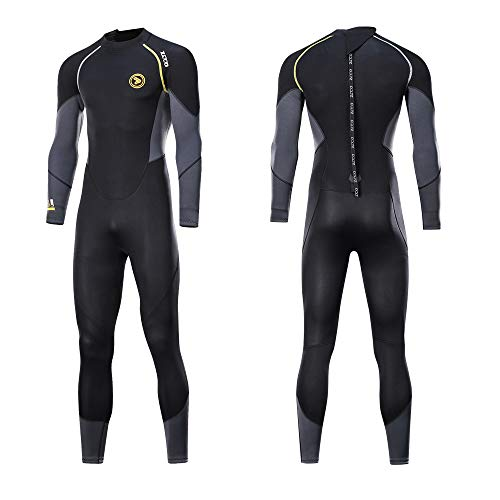 ZCCO Wetsuits Men's 5mm Premium Neoprene Front Zip Full Suits for Scuba Diving,Spearfishing,Snorkeling,Surfing,Canoeing Dive Skin (Black+Gray, 4XL)