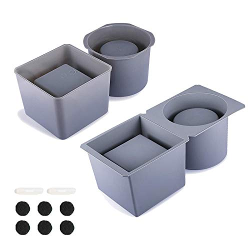 Silicone Model for Concrete Flower Pots, DIY Mini Pots Square and Round Shape, 2 Pack