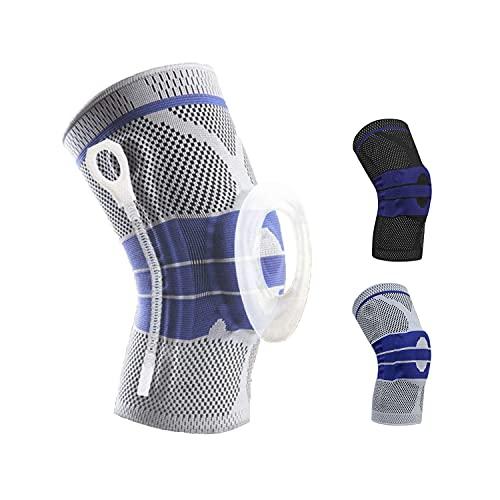 NEU PREMIUM PHYSIUS. Kniebandage orthopädisch für Volleyball Joggen Handball etc. extra Kompression (Grau, XL)