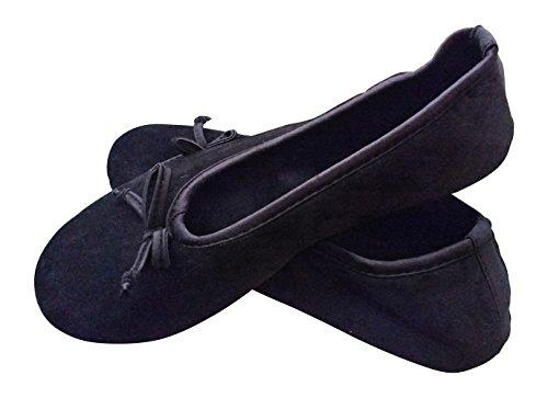 Dearfoams Women's Plush Velour Ballerina Slippers