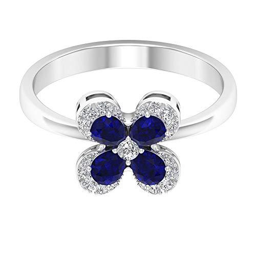 Rosec Jewels 14 quilates oro blanco pera round-brilliant-shape H-I Blue Diamond Blue Sapphire