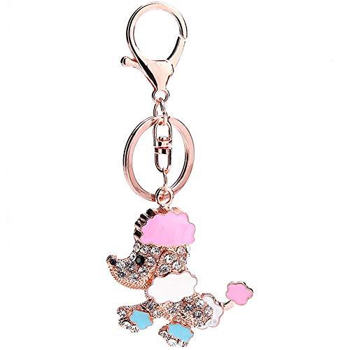 LIJIANZI - Llavero para mujer, diseño de perro con diamantes de imitación, para bolso, colgante de perro, colgante de cristal, colgante de perro, regalo para niña, mujer y mujer (perro)