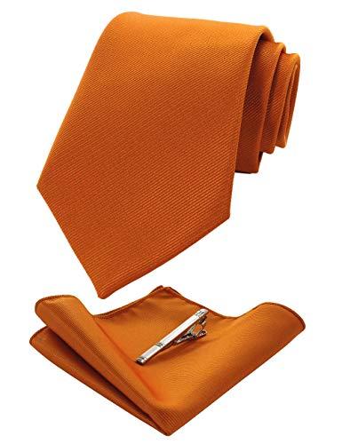 JEMYGINS Orange seide Krawatte und Einstecktuch mit krawattenklammer Set für Herren Seidenkrawatten Hochzeit Schlips (13)