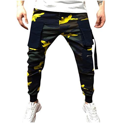 LANSKIRT_Pantalones Pantalones Hombre Pitillo con Multibolsillos Largos de Camuflaje Casual de Moda para Hombres Pantalones de Trabajo Jogger Overol Chandal Ropa de Otoño Invierno