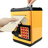 HUSAN Great Gift Toy for Kids Code Electronic Piggy Banks Mini ATM Electronic Coin Bank Box for Children Password Lock Case (Black/Yellow)