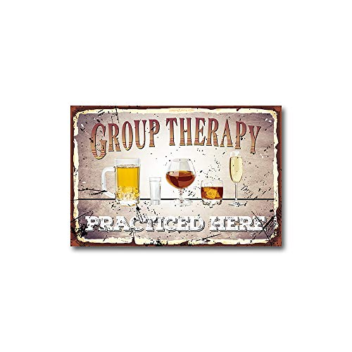 Angeloken Retro Vintage Style Decorative Iron Painting Tin Sign, Group Therapy Practiced Here, Rust Free,Aluminum, UV Printed, Easy to Mount,1 Pack, 8'x12'Inches for Home Coffee Beer Bar Canteen