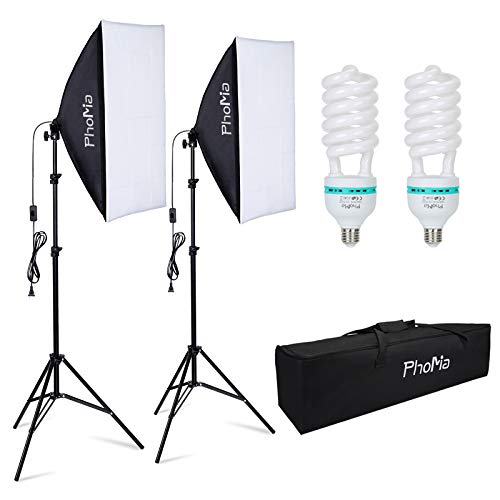 PHOMIA Softbox Lighting Kit 135W 20 x 28 Inch Studio Photography Continuous Light with 82.7-Inch Stand and Reflectors and 135W 5500K E27 Socket Lights for Portrait Item Fashion Photography
