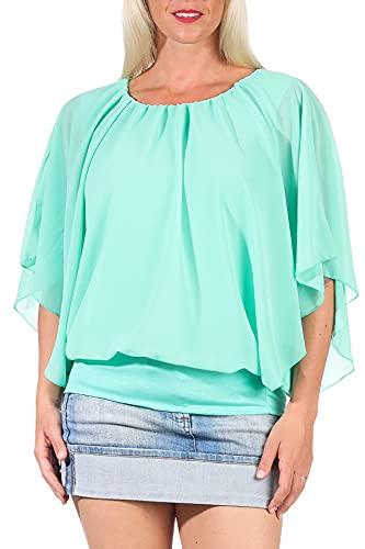 Damen Bluse im Fledermaus Look   Tunika mit Rundhals und breitem Bund   Blusenshirt Kurzarm   Elegant - Shirt 6296 (türkis)