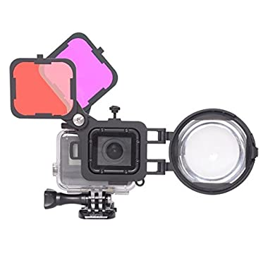 3in1 Dive Lens Set Compatible with GoPro Hero 6/5 Black Diving Underwater Scuba Lens Filter Red +Magenta Color Correction Filter +16X Macro Lens w/Safety Lock for Tropical Blue/River Green Water