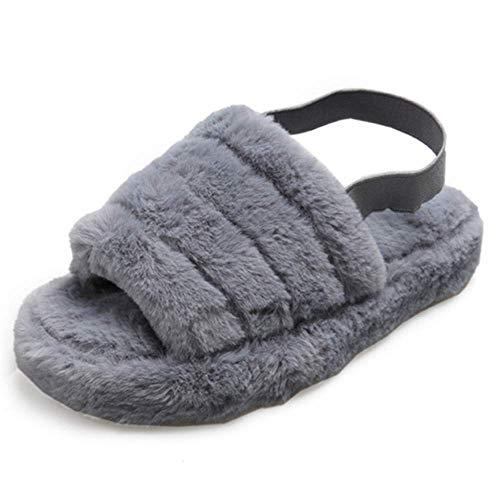 Pantuflas de piel sintética para mujer, suaves, de forro polar, para exteriores, color gris, xx_s)