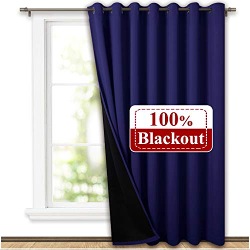 NICETOWN 100% Blackout Patio Sliding Door Curtain, Wide Lined Drape, Keep Warm Drapery, Sliding Glass Door Panel for Oversleep(Navy Blue, 1 Panel, 100 inches Wide x 95 inches Long