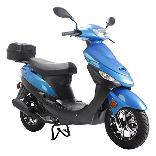 X-PRO 2021 Version Maui 50cc Moped Scooter Gas Moped Scooter Motorcycle 50cc Adult Scooter Aluminum Wheels(Blue)