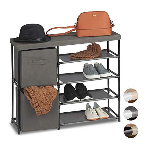 Relaxdays ladenkast stof, stoffen commode, 2 laden, metalen frame, 6 vakken, 65 x 80,5 x 29 cm, zwart-grijs, metaal, polyester, kunststof