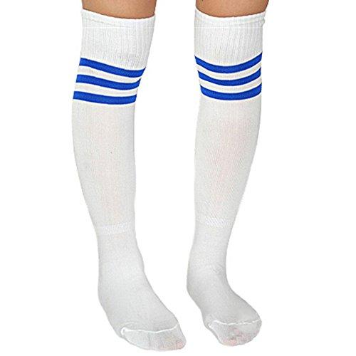 JJ Store - Calcetines deportivos para mujer, diseño de rayas Wblue. talla única