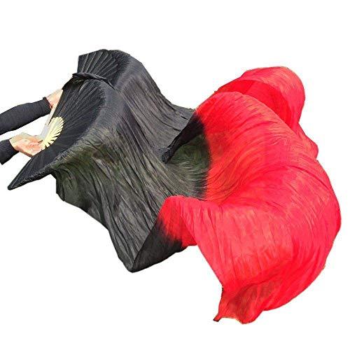 シルクファンベール 2本セット シルク100% ベリーダンス ファンベール シルクファンベール ベール シルク 衣装 扇子 団扇 舞台 小道具 アクセサリー 扇子 団扇 (黒赤)
