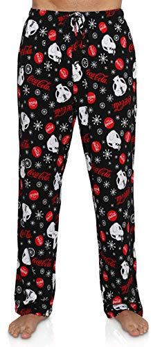 Coca-Cola Men's Lounge Pants, Classic Coke Bear and Logo, Polar Bear Black, Size Medium