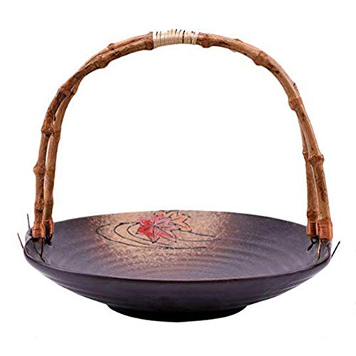 Basage Fruit Basket with Handle Ceramic Fruit Serving Plates Modern Decorative Fruit Stand Holder for Counter (Random Color)