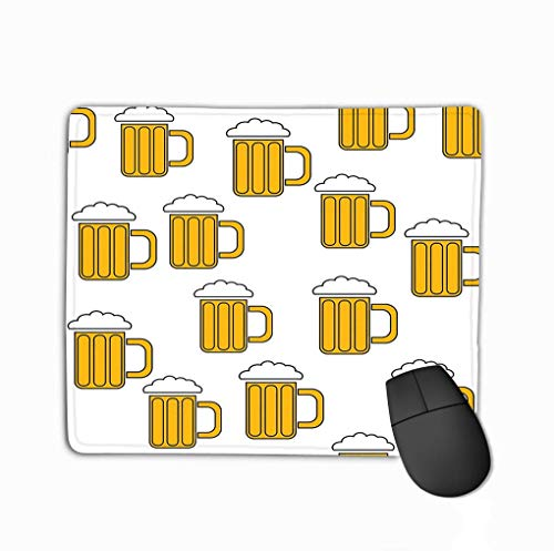 Mouse Pad Seamless Pattern Simple Abstract Alcoholic Beer Glass Glasses Handles Hops Headed Cold Tasty Beer Icons Beer Rectangle Rubber Mousepad 11.81 X 9.84 Inch