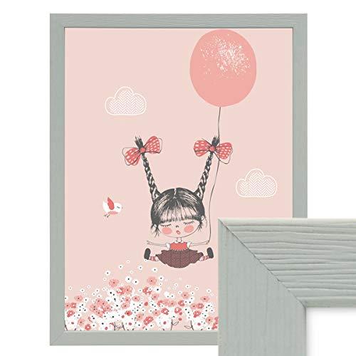 PHOTOLINI Bilderrahmen Grau 30x40 cm Massivholz mit Acrylglasscheibe/Fotorahmen Hellgrau/Wechselrahmen